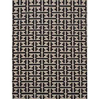 ECarpetGallery Flatweave Ankara Kilim Black, Ivory Wool Kilim (7'10 x 10'6)