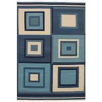 ECarpetGallery Flatweave Ankara Kilim Blue, Green  Wool Kilim (6'7 x 9'10)