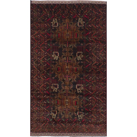 ECarpetGallery Hand-Knotted Royal Baluch Black, Red Wool Rug (3'10 x 7'0)