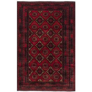 ECarpetGallery Hand-Knotted Royal Baluch Red  Wool Rug (4'1 x 6'6)