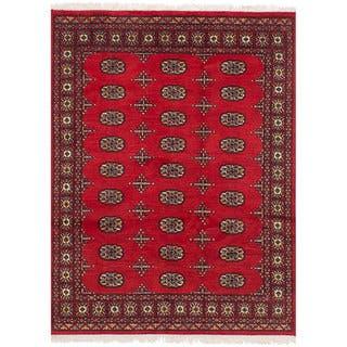 ECarpetGallery Hand-Knotted Peshawar Bokhara Red Wool Rug