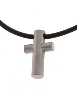 Stainless Steel and Black Cord Cross Pendant