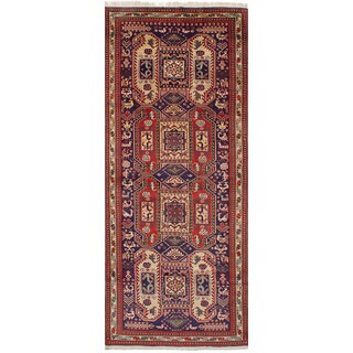 ECarpetGallery Hand-Knotted Ardabil Blue Wool Rug (4'4 x 10'7)