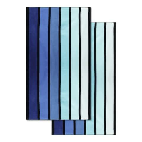 Superior 100-percent Cotton Faded Stripe Oversized Beach Towel (Set of 2)