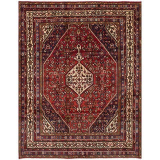 ECarpetGallery Hand-Knotted Hamadan Red Wool Rug (7'4 x 9'9)