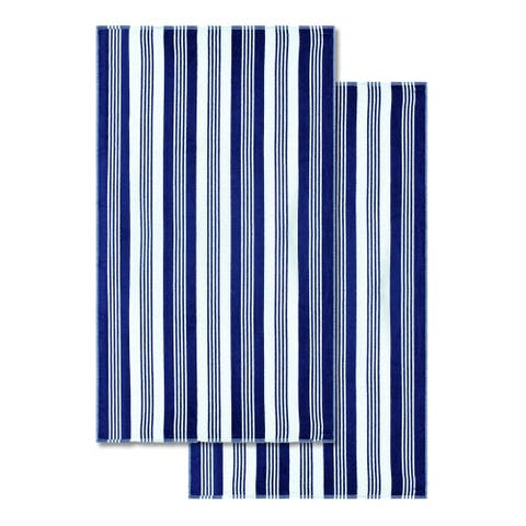 Superior 100-percent Cotton Maui Stripe Oversized Beach Towel (Set of 2)