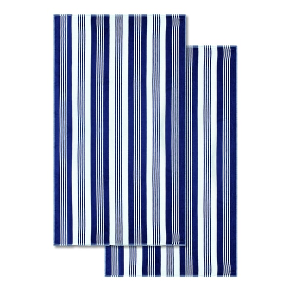 Superior 100 Percent Cotton Maui Stripe Oversized Beach Towel Set Of 2