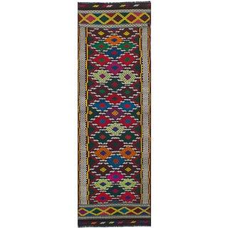 ECarpetGallery Flatweave Qashqai Red Wool Kilim (2'6 x 8'8)