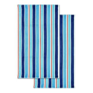 Superior Cotton Ocean Stripe Oversized Beach Towel (Set of 2)