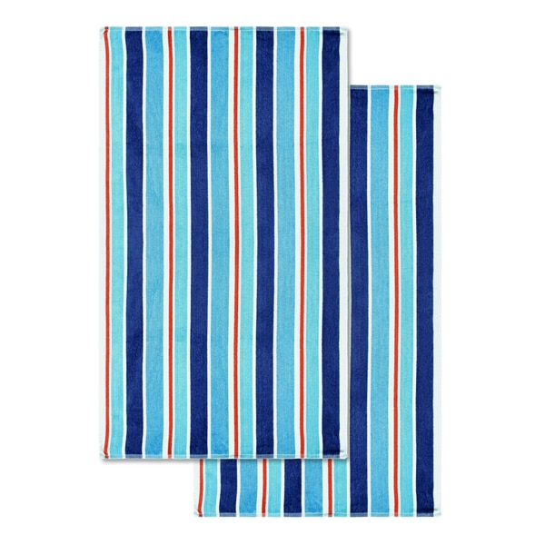 Superior Cotton Ocean Stripe Oversized Beach Towel (Set of 2)