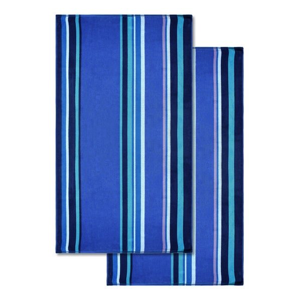 Superior Cotton Sefina Stripe Oversized Beach Towel (Set of 2)