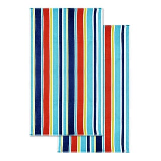 Superior 100-percent Cotton Oceana Stripe Oversized Beach Towel (Set of 2)
