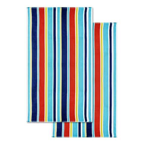 "Miranda Haus Cotton Oceana Stripe Oversized Beach Towel (Set of 2) - 34"" wide x 64"" long"