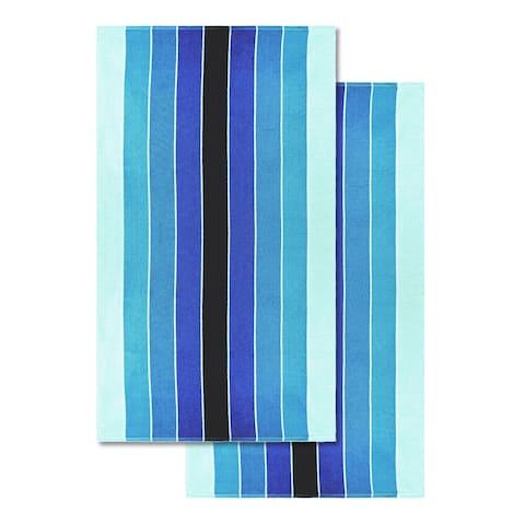 Superior Cotton Pacific Stripe Oversized Beach Towel (Set of 2)