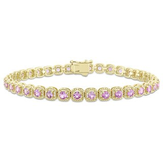 Miadora Signature Collection 14k Yellow Gold Pink Sapphire Tennis Bracelet