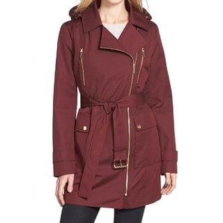 Michael Kors Large Burgundy Hooded Trench Coat