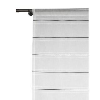 Lite Out Horizon stripe Linen Sheer Panels (Pair) - 52 x 96 (White/Black)