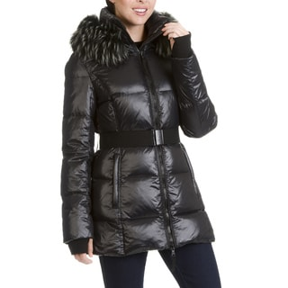 S13 New York Women's Faux Fur Trim Quilted Belted Jacket
