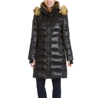 S13 New York Women's Faux Fur Trim Quilted 3/4 Length Coat