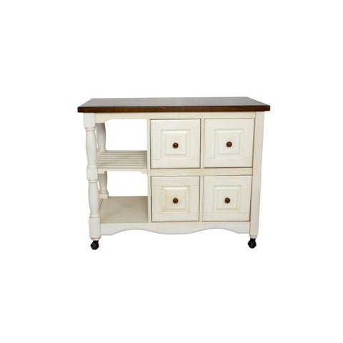 2 ft X 3.5 ft Four Drawer Kitchen Cart in 5 Finishes by Sunset Trading