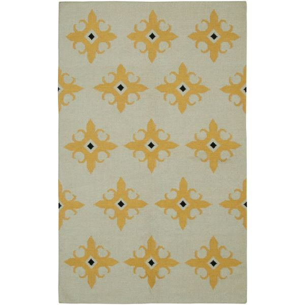 Rizzy Home Beige/Yellow New Zealand Wool Handmade Damask Geometric Area Rug - 8' x 10'