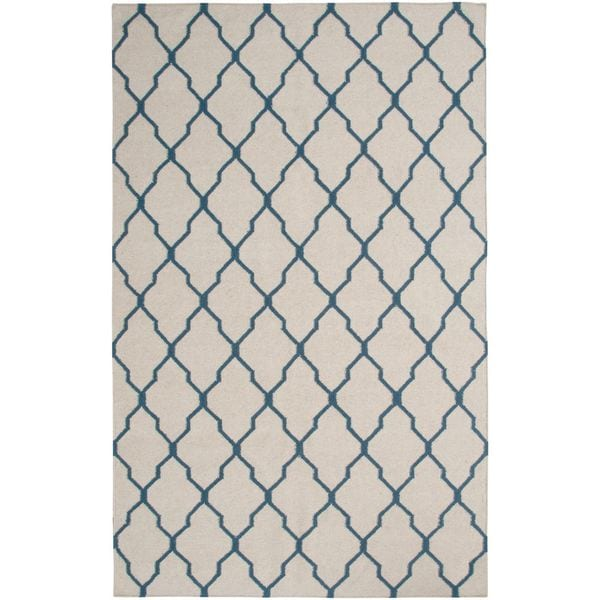 Handmade Flatweave Swing Beige Wool Geometric Trellis Area Rug - 5'x 8'