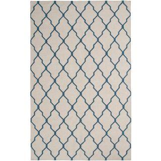 Handmade Flatweave Swing Beige Wool Geometric Trellis Area Rug (5' x 8')