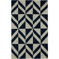 Rizzy Home Handmade Diamond Black/ Ivory Flatweave Wool Rug - 8' x 10'
