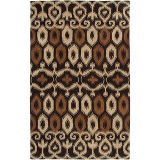 Hand-Tufted Volare Brown Wool Ikat Geometric Area Rug (5' x 8')