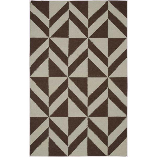 Handmade Flatweave Swing Brown Wool Geometric Area Rug (5' x 8')