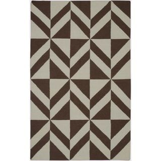 Handmade Flatweave Swing Brown Wool Geometric Area Rug (5' x 8')