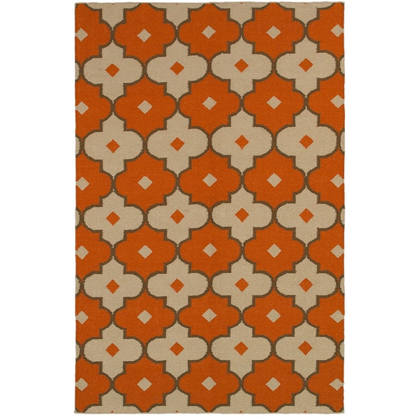 Rizzy Home Swing Red Rust Wool Handmade Flatweave Trellis Area Rug (8' x 10') - 8' x 10'