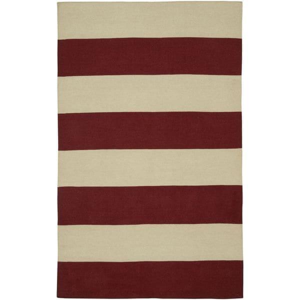 Rizzy Home Swing Red Wool Stripes Handmade Flatweave Area Rug - 8' x 10'