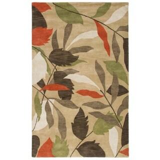 Hand-Tufted Pandora Beige Wool Floral Leaves Area Rug (5' x 8')