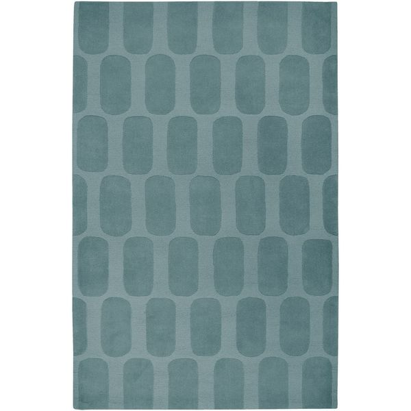 Hand-Tufted Platoon Blue Wool Geometric Solid Area Rug (5' x 8')