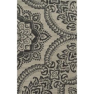Hand-Tufted Volare Beige Wool Geometric Area Rug  (5' x 8')