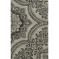 Hand-Tufted Volare Beige Wool Geometric Area Rug  (5' x 8') - 5'x 8'