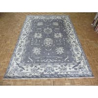 Hand Knotted Silver Grey Oushak Ushak with Wool Oriental Rug - 9'10 x 14'0