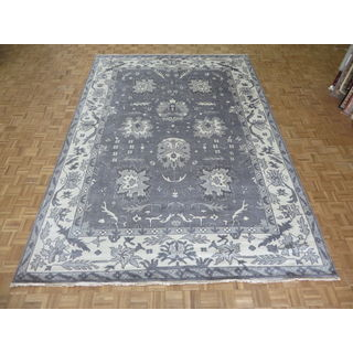 Hand Knotted Silver Grey Oushak Ushak with Wool Oriental Rug (9'10 x 14'0)