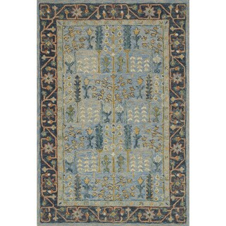 "Hand-hooked Blue Traditional Wool Area Rug - 9'3"" x 13'"
