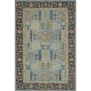 """Hand-hooked Blue Traditional Wool Area Rug - 9'3"""" x 13'"""