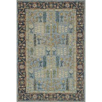 Hand-hooked Blue Traditional Wool Area Rug - 9'3 x 13'