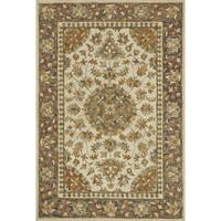Hand-hooked Beige/ Grey Traditional Floral Wool Rug - 9'3 x 13'
