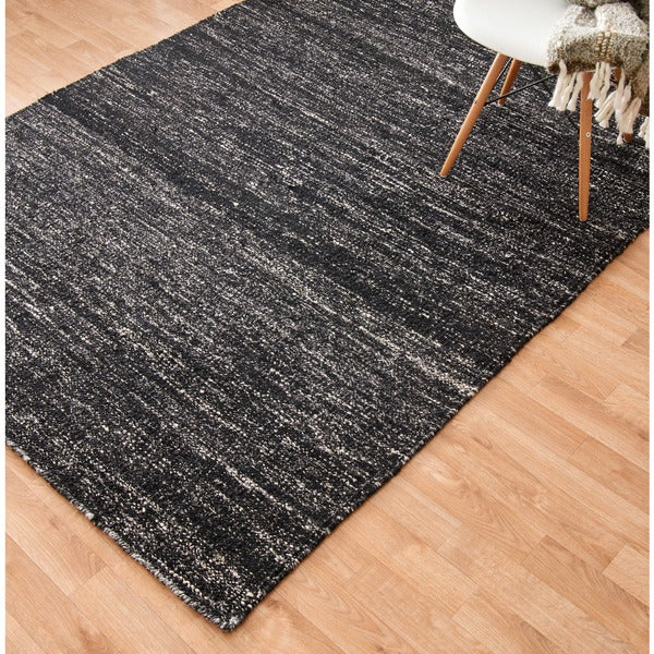 """Flat-weave Black Abstract Contemporary Area Rug - 9'3"""" x 13'"""