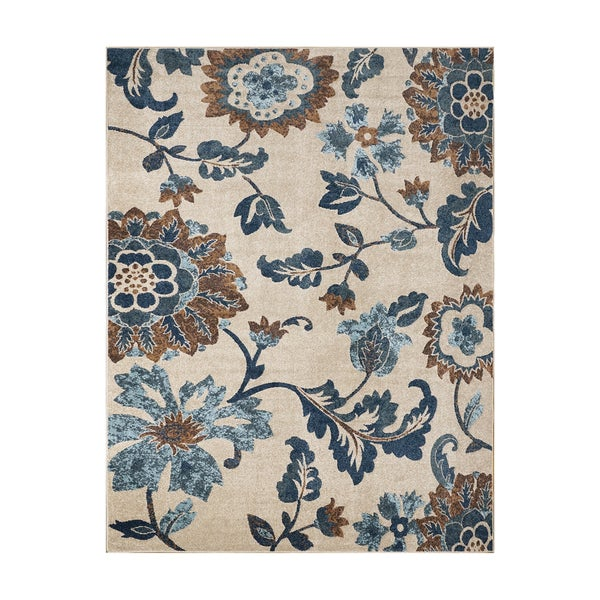 "Avenue33 Saratoga Indoor/Outdoor Ivory/Blue Area Rug by Gertmenian (7'10"" x 10') - 7'10 x 10'"