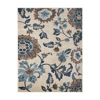 Avenue33 Saratoga Indoor/Outdoor Ivory/Blue Area Rug by Gertmenian - 7'10 x 10'