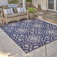 Gertmenian Studio by Brown Jordan Aurora Navy/Grain Area Rug (7'10 x 10')