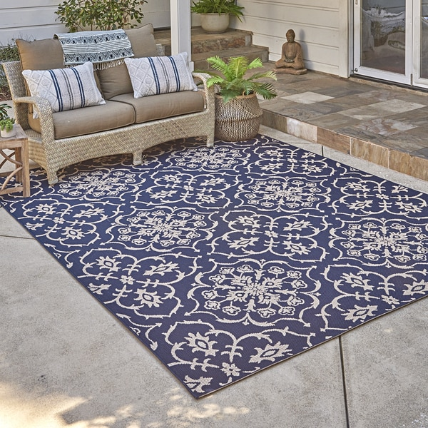 Studio by Brown Jordan Aurora Navy/Grain Area Rug by Gertmenian - 5'3 x 7'5