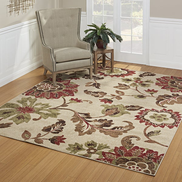 Avenue33 Thea Indoor/Outdoor Ivory/Red Area Rug by Gertmenian - 7'10 x 10'
