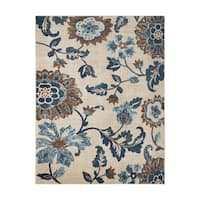 Avenue33 Saratoga Indoor/Outdoor Ivory/Blue Area Rug by Gertmenian - 5'3 x 7'